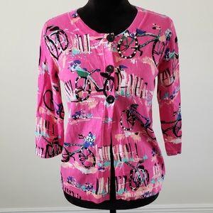 B2G1 Designers Originals Hot Pink Bicycle Cardigan